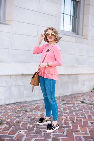 something delightful blogger sweater jeans sunglasses shoes jewels bag ruffle sweater pink sweater crossbody bag slip on shoes