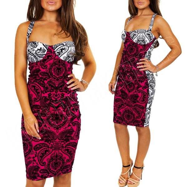 fuschia two tone paisley pink and white glamour baroque dress flocked black and white dress midi dress bodycon dress sexy dress cross back dress bustier dress bustier