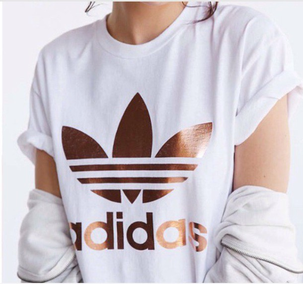 adidas white white and gold t-shirt copper white t-shirt t-shirt rose gold shirt