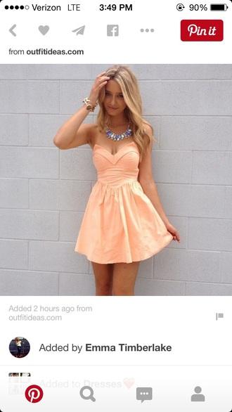 dress peach dress sexy dress party dress strapless dresses blonde hair pink dress