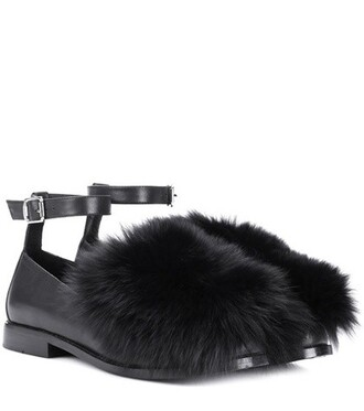 ankle strap loafers leather black shoes