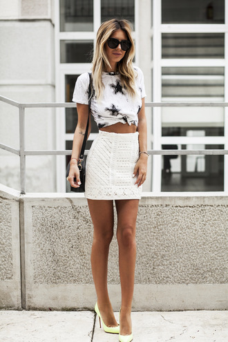 zorannah blogger shirt skirt shoes sunglasses white skirt mini skirt white top stars white heels all white everything black bag