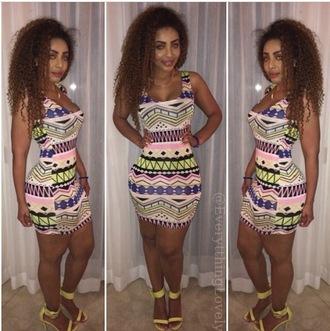 dress mini mini dres mini dress clubwear fun print tank top tank top dress tribal pattern