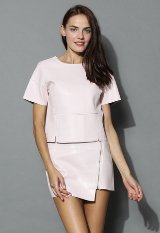 top make it cool faux leather top in nude pink chicwish faux leather nude pink pink top chicwish top