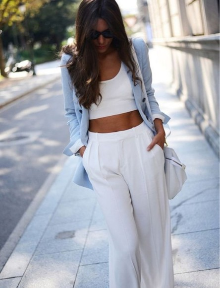 loose fit pants white style classy dressy class women trousers jeans loose pants pastel summer perfect jacket