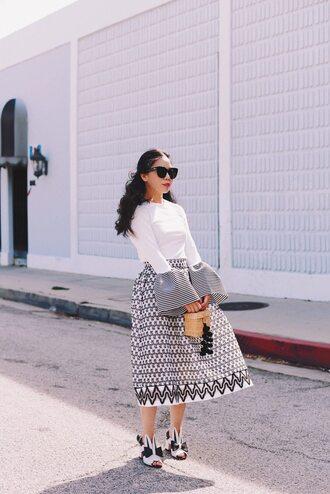 skirt midi skirt long sleeved top sandals blogger blogger style printed skirt bell sleve