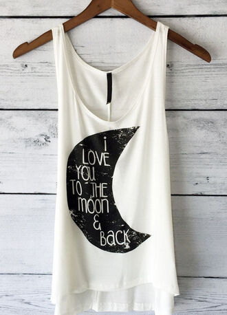 tank top moon love boho boho chic love you to the moon and back top love you to the moon and back ivory black fashion style look book stylist trendy
