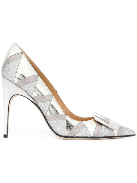 Sergio Rossi women pumps leather pattern grey metallic shoes