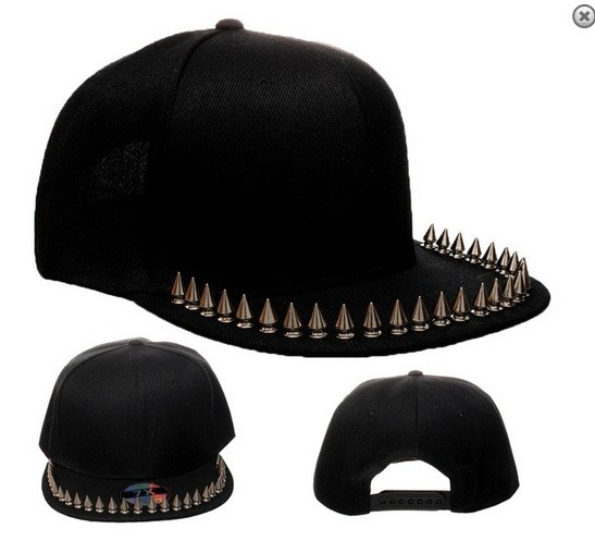 Black studded spiked snapback cap hat with flat spiked peak