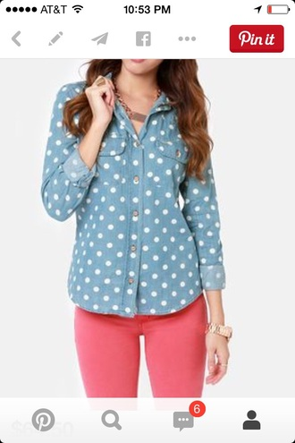 blouse denim shirt polka dots pink pants polka dot denim top