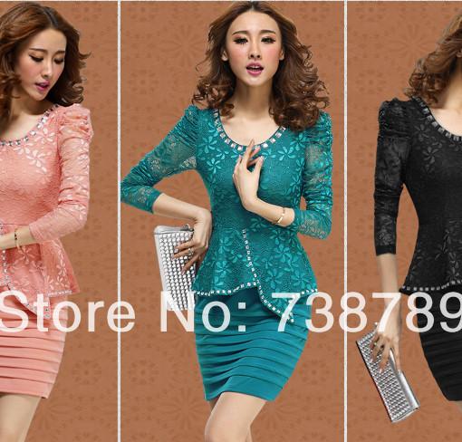 Hot new women's spring 2014 fashion elegant stitching lace dress OL Slim Free Shipping | Amazing Shoes UK