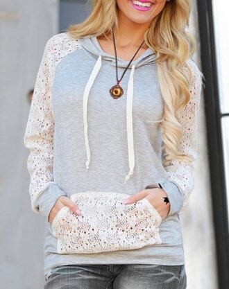 sweater lace hoodie fall outfits grey white fashion style cute girly casual jumper winter outfits back to school long sleeves clothes pockets warm cozy