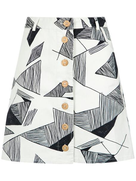 Sissa skirt women spandex geometric cotton print black