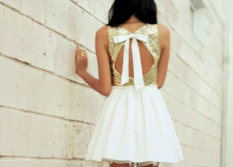 dress open backed dress gold sequins bow back dress white dress clothes white bow gold cut out back tumblr glitter dress open back glitter