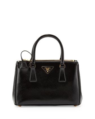 Prada Saffiano Vernice Mini Double-Zip Crossbody Bag, Black (Nero) - Neiman Marcus