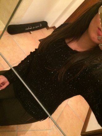 sweater winter sweater black strass glitter glitter sweater burton womens winter top top black top girly