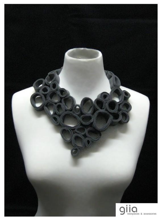 Organic v bib statement necklace by giia on etsy