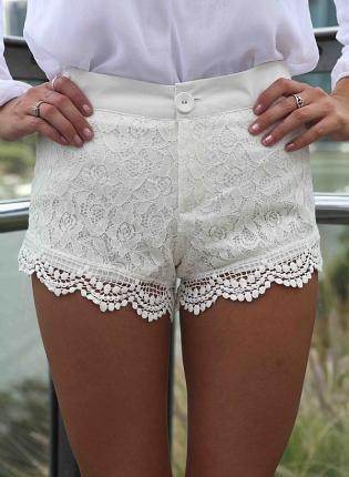 White paisley lace overlay shorts with crochet trim on wanelo