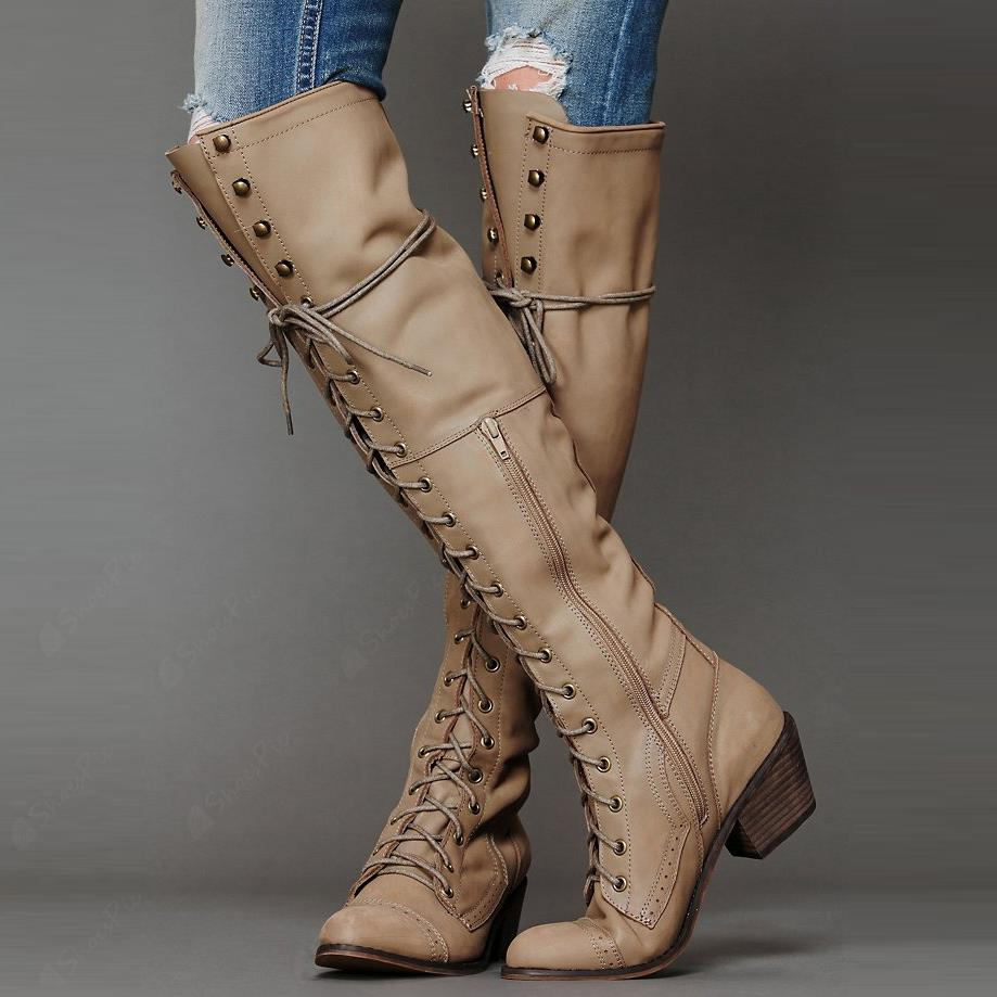 Lace-up Rivets Decorated Knee High Boots