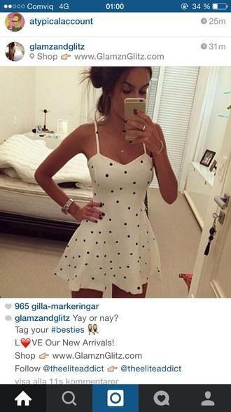 dress white dots cute dress