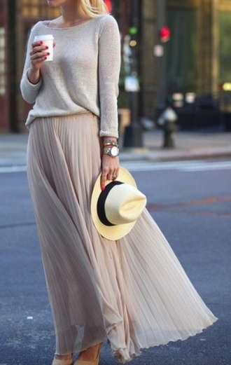 skirt maxi skirt pink skirt spring spring outfits grey sweater sweater spring skirt jewels