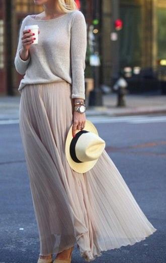 skirt maxi skirt pink skirt spring spring outfits grey sweater sweater spring skirt
