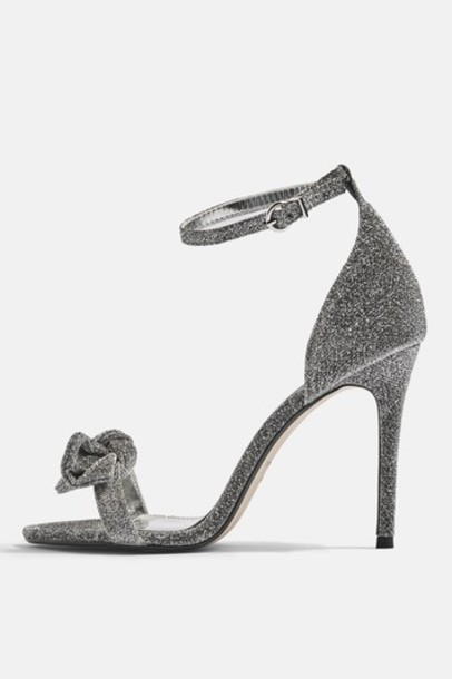 Topshop heel bow sandals silver shoes