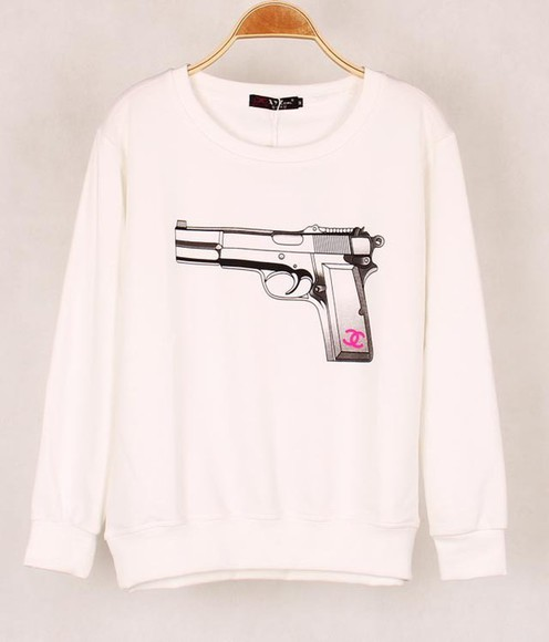 gun white channel crew neck crewneck sweater long sleeves jacket cute casual chic fashion killer swag print t-shirt top hoodie