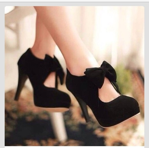 shoes high heels black high heels black bow cute high heels female