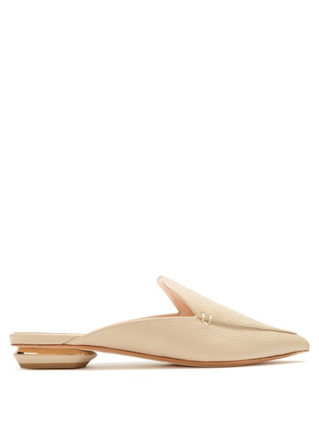 Nicholas Kirkwood backless loafers leather light beige shoes
