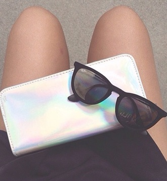 bag clutch holographic purse cute pretty stylish fashion style sunglasses