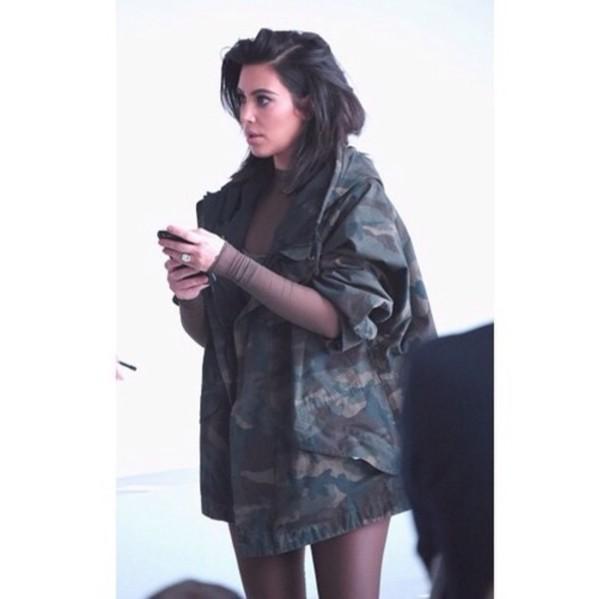 coat kim kardashian camouflage