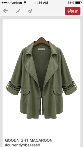 cute jacket army green layered army green jacket