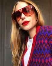 sunglasses,red sunglasses,pernille teisbaek,blogger,instagram