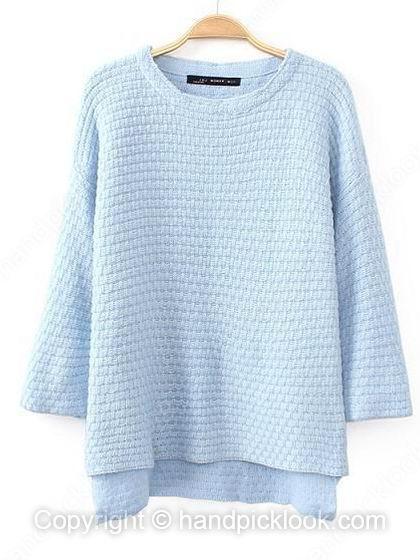 Blue Round Neck Half Sleeve Sweater - HandpickLook.com