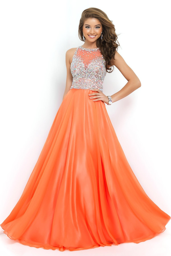 orange long evening dress free shipping new arrival formal dresses