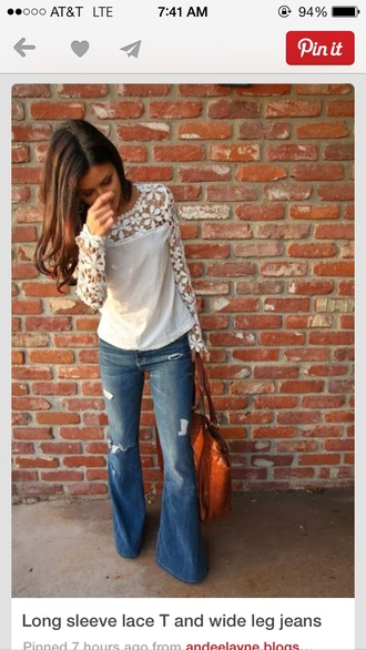 blouse lace tee lace shirt long sleeves cream lace