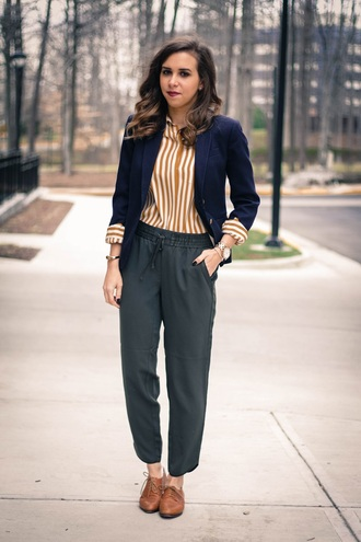 oh va darling blogger pants lace-up shoes striped shirt blazer