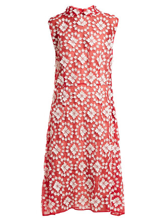 dress embroidered floral cotton white red