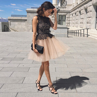 hello fashion blogger dress prom dress lace dress black lace dress pink dress tutu dress clutch black sandals party dress
