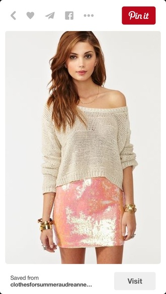 skirt tight mini skirt gold sequins sequin dress sweater off the shoulder sweater cute top outfit blouse crochet bodycon top
