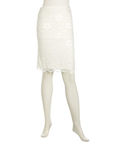 Lace-Front Ponte Pencil Skirt, Ivory