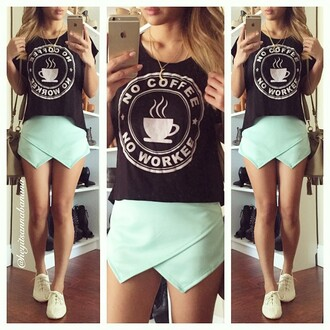 shorts skorts mint black green shorts lovely mint skort tank top shirt