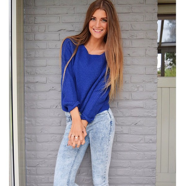 jeans faded sweater top blue