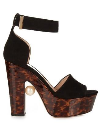 pearl embellished sandals black brown shoes