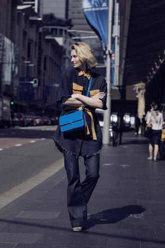 zanita blogger shirt dress bag jeans shoes jewels