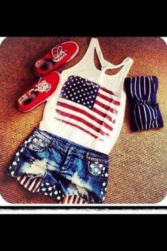t-shirt shorts vans american flag denim shorts graphic tee graphic tank top tank top shirt