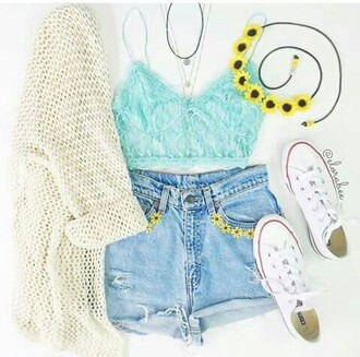 top crop tops mint outfit fashion denim cute flowers converse sweater shorts