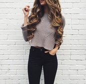 shirt,sweater,crop tops,jeans,black jeans,pants,outfit,skinny jeans,white x black x denim,black,love,cute,style,curly hair,top,cropped knit sweater,clothes,cropped sweater,knitted sweater,wooly,knit,knitwear,nude,colorful,pattern,gold,brown,cute sweaters,grey sweater,black skinny jeans