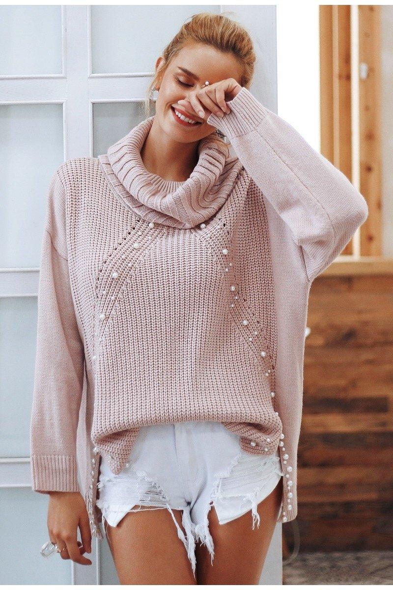 turtleneck pearl jumper